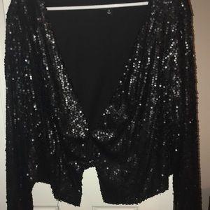 Torrid black sequined cardigan